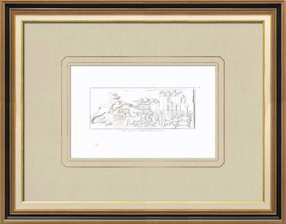 Grabados & Dibujos Antiguos | Bajorrelieves del Templo de Karnak - El Gran Templo de Amón (Egipto) | Grabado calcográfico | 1830