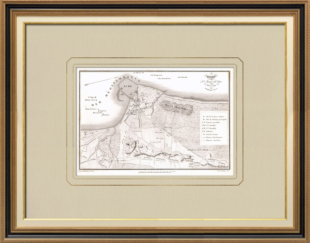 Gravures Anciennes & Dessins | Plan de Saint-Jean-d'Acre - Siège (Israël) | Gravure sur cuivre | 1830