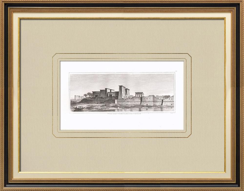 Antique Print & Etching   Tempel von Philae - Isis-Tempel - Trajanskiosk (Ägypten)   Kupferstich   1830