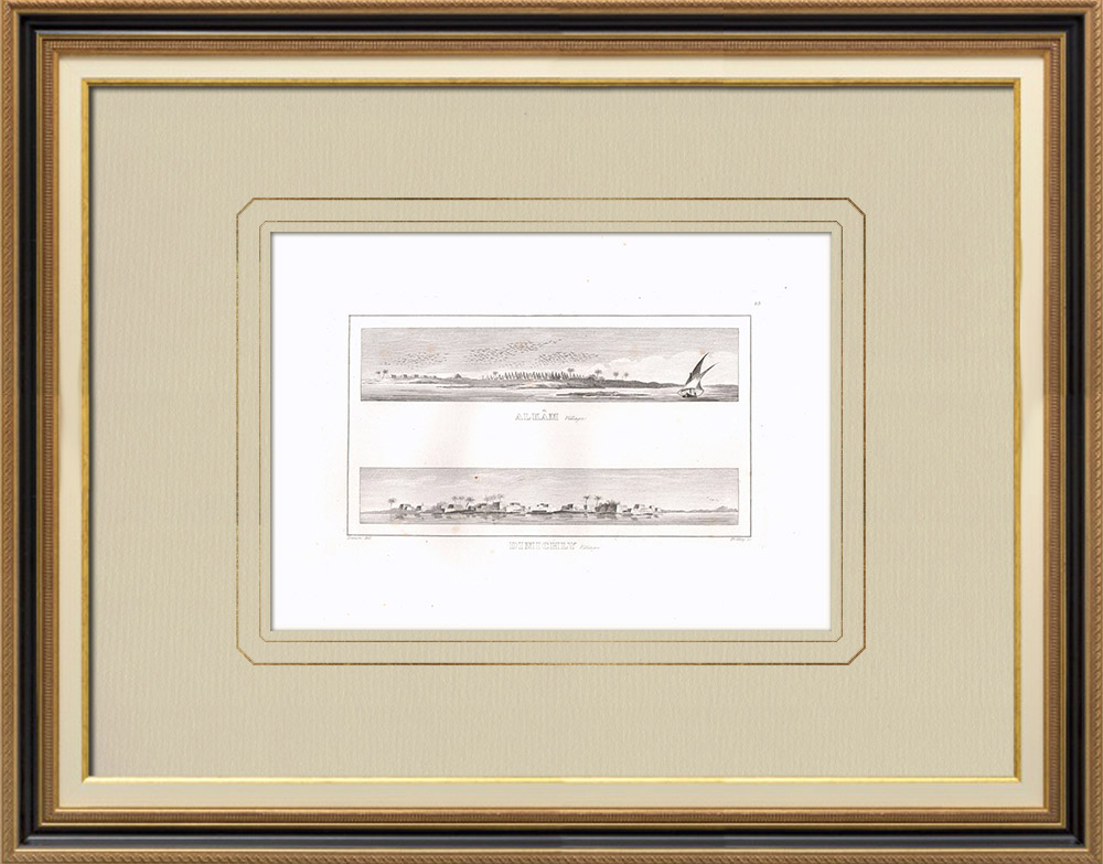 Stare Grafiki & Rysunki | Widoki na Alkam i Dimichly - Bahyréh (Egipt) | Miedzioryt | 1830