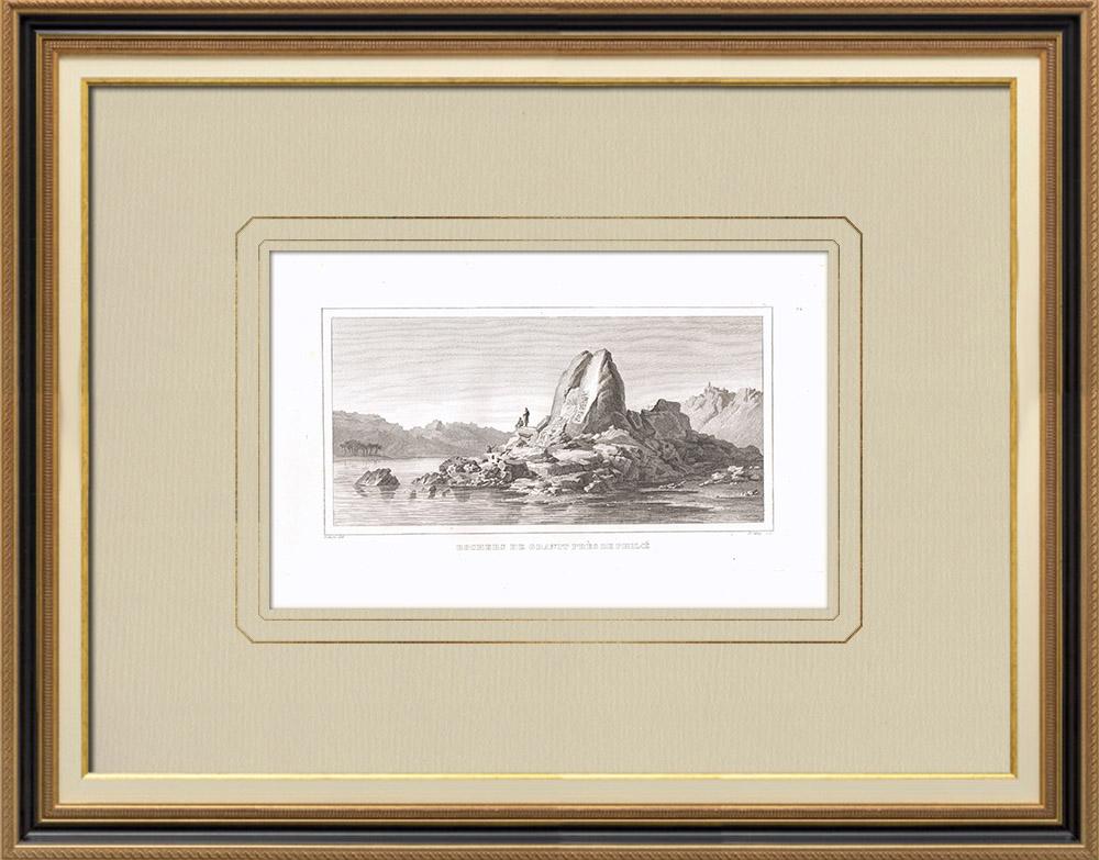 Stare Grafiki & Rysunki | Granitowe Skały w Pobliżu Philaé (Egipt) | Miedzioryt | 1830