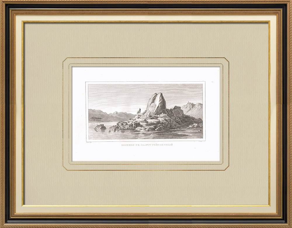 Antique Prints & Drawings | Granite rocks near Philaé (Egypt) | Copper engraving | 1830