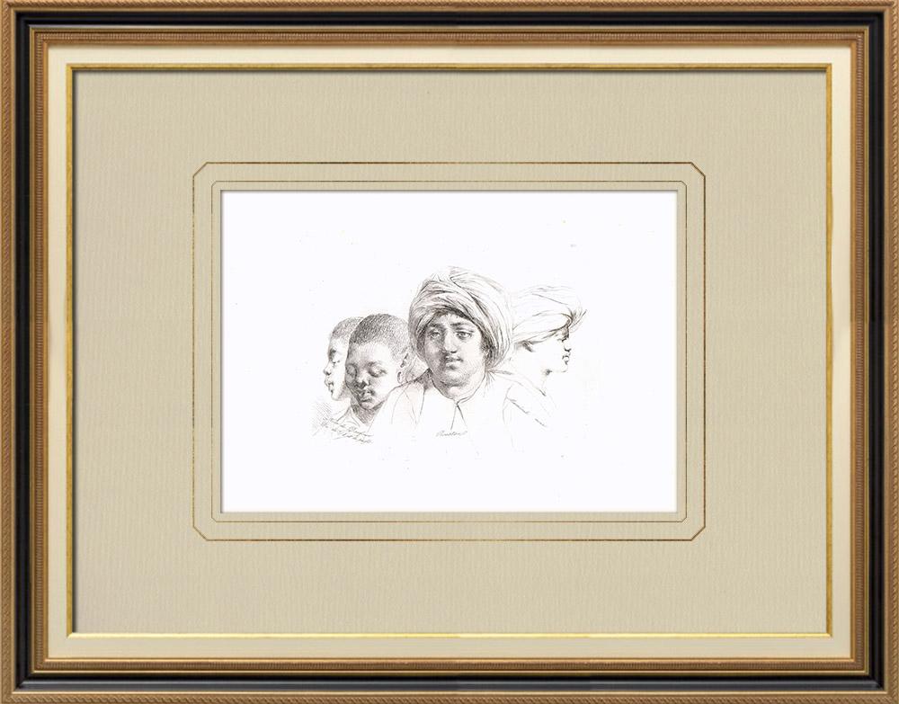 Stare Grafiki & Rysunki | Portrety Arabskie (Egipt) | Miedzioryt | 1830