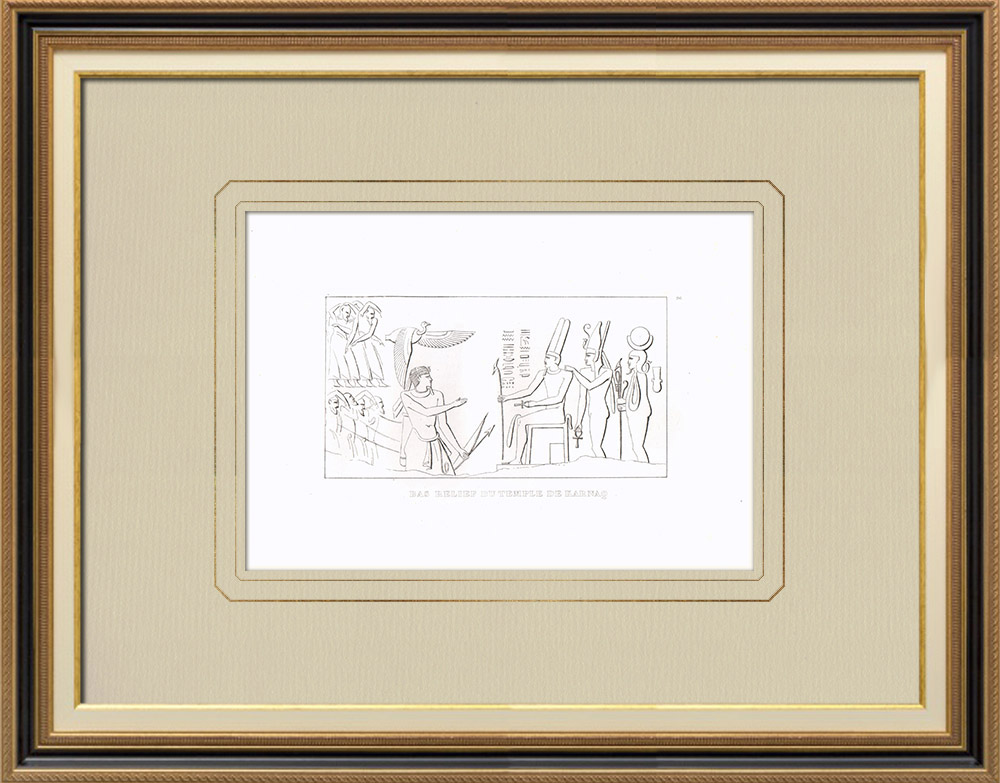 Antique Prints & Drawings | Low-reliefs of Karnak Temple - The Amun-Re Temple (Egypt) | Copper engraving | 1830