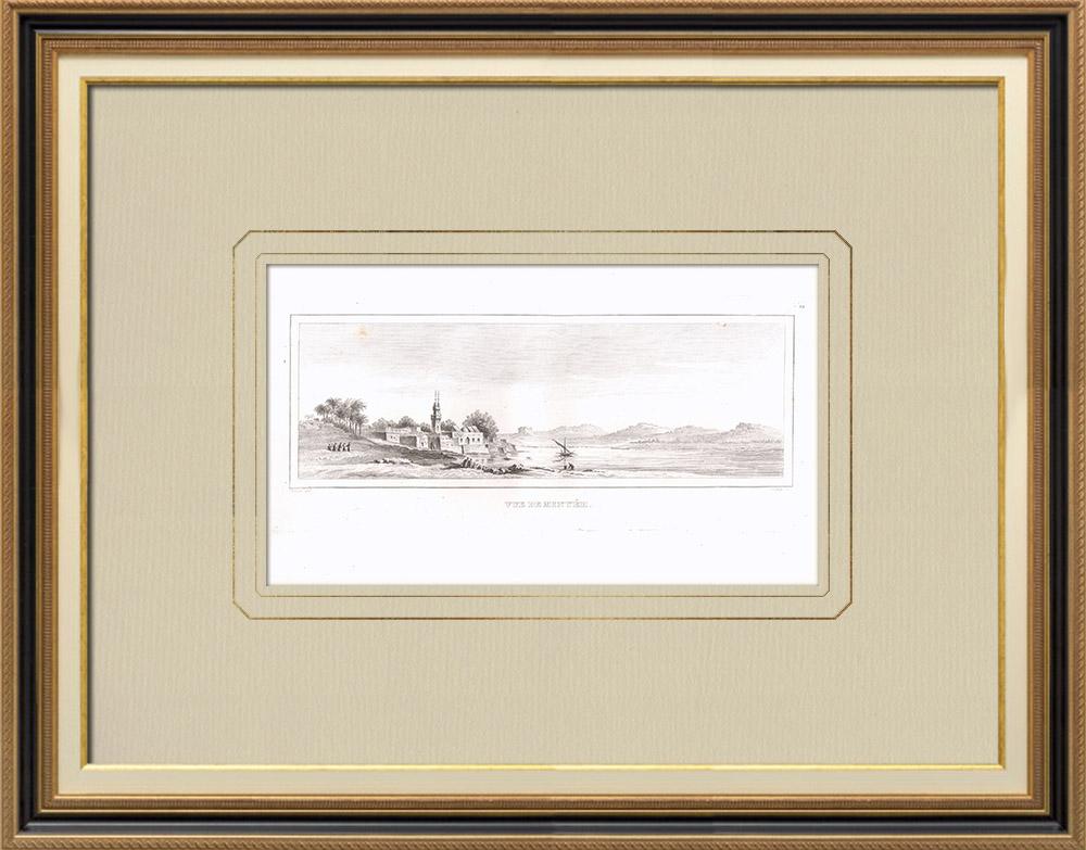 Gravuras Antigas & Desenhos | Vista de Minyéh - Nilo (Egito) | Gravura em buril sobre cobre | 1830