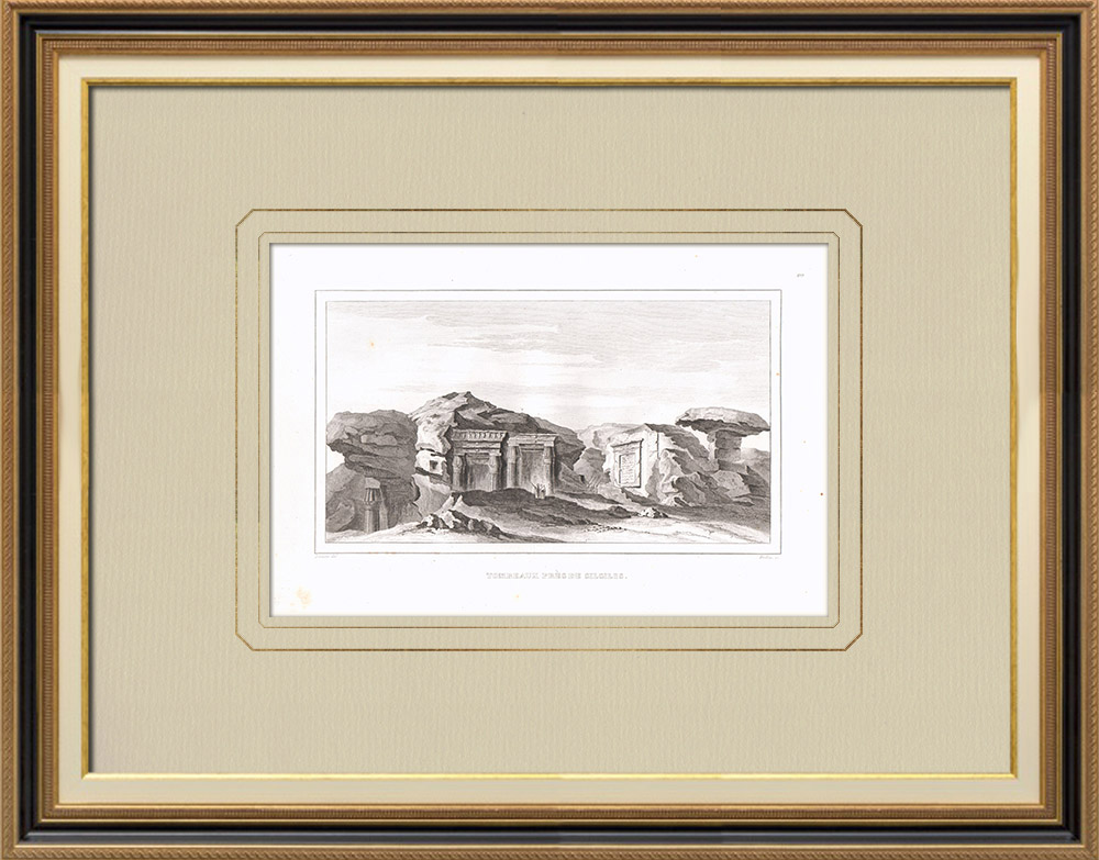 Antique Prints & Drawings | Tombs near Silsilis - Mountain - Nile (Egypt) | Copper engraving | 1830