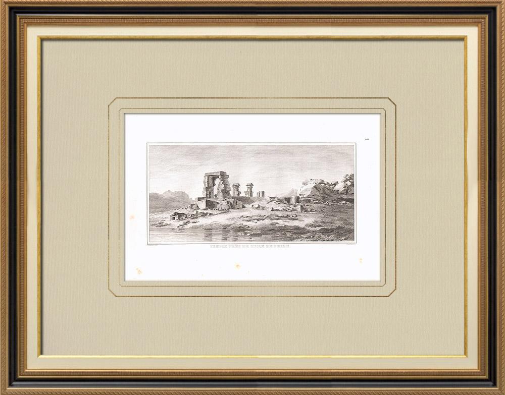 Antika Tryck & Ritningar | Tempel nära File (Egypten) | Kopparstick | 1830