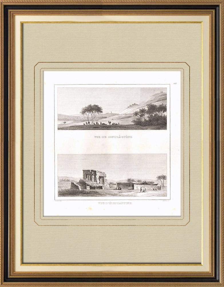 Stare Grafiki & Rysunki | Widoki Przeciwsynenu i Słonicy - Nil (Egipt) | Miedzioryt | 1830