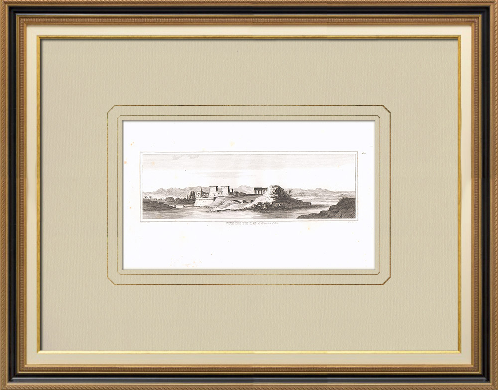 Oude Prenten & Tekeningen | Gezicht op Philae bij Zonsondergang (Egypte) | Kopergravure | 1830