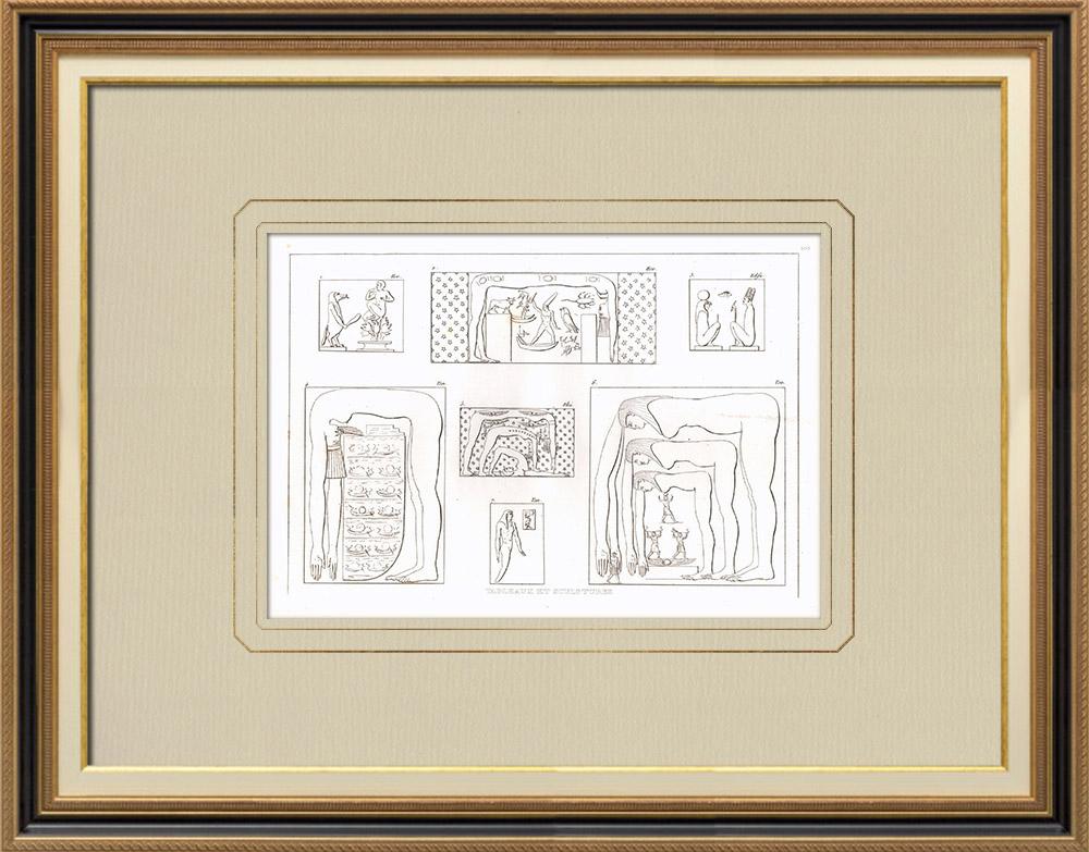 Antika Tryck & Ritningar | Målningar och Skulpturer från Egypten | Kopparstick | 1830