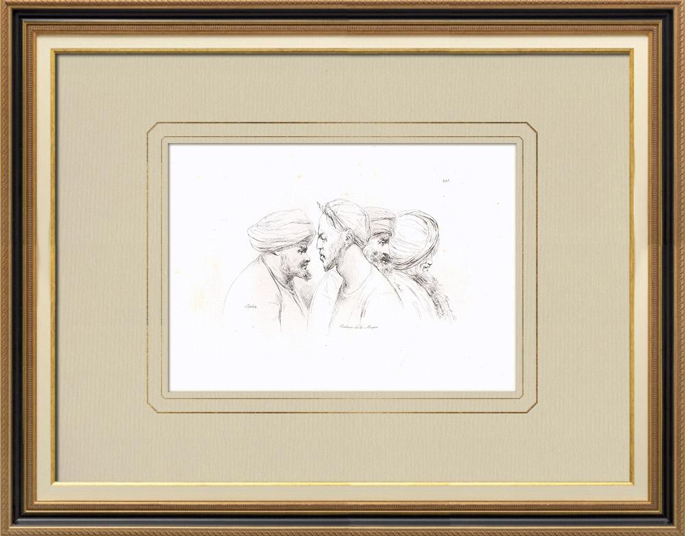 Antique Prints & Drawings | Arabian portraits - Copt - Mecca slave (Egypt) | Copper engraving | 1830