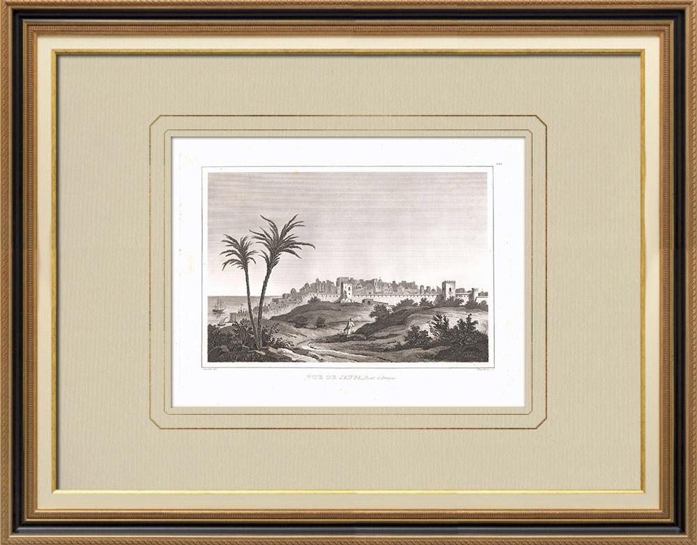 Stare Grafiki & Rysunki | Widok Jafa - Tel Awiw (Izrael) | Miedzioryt | 1830