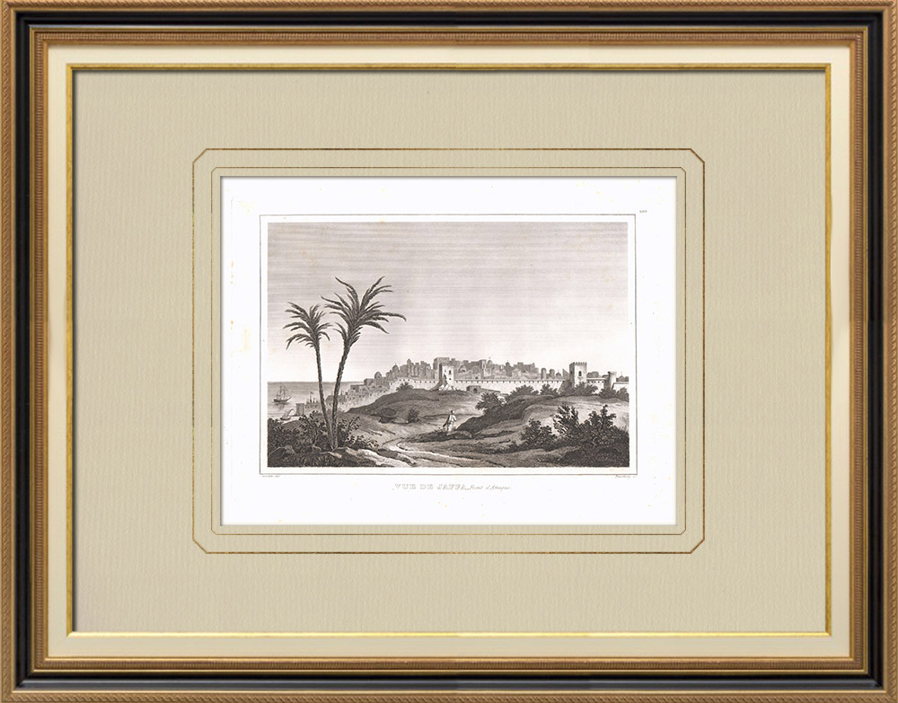 Gravuras Antigas & Desenhos | Vista do Jaffa - Tel Aviv (Israel) | Gravura em buril sobre cobre | 1830