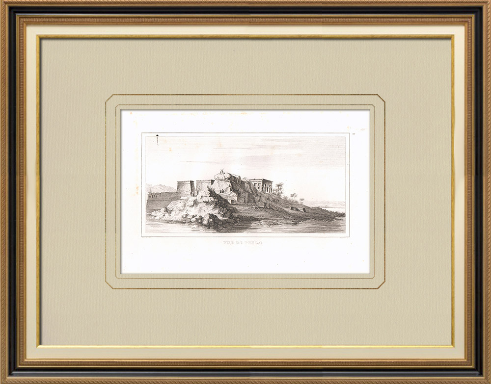 Antique Prints & Drawings | View of Philae (Egypt) | Copper engraving | 1830