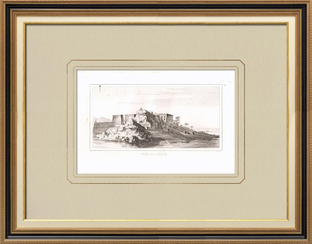 Gravuras Antigas & Desenhos   Vista de Filas (Egito)   Gravura em buril sobre cobre   1830