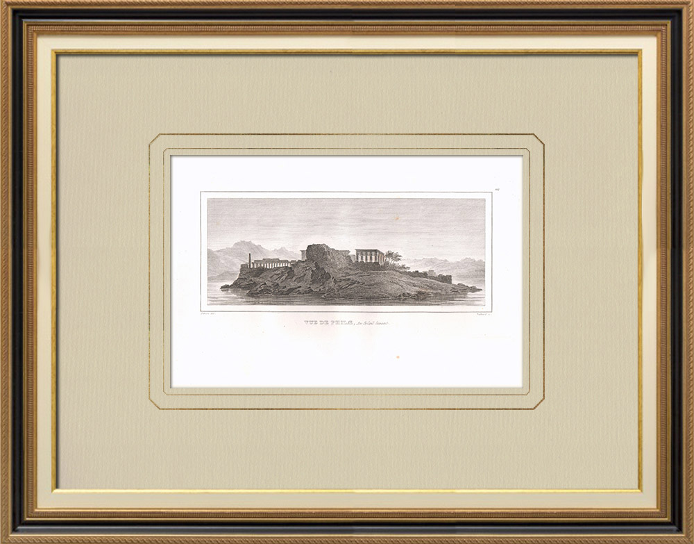 Antique Prints & Drawings | View of Philae in sunrise (Egypt) | Copper engraving | 1830
