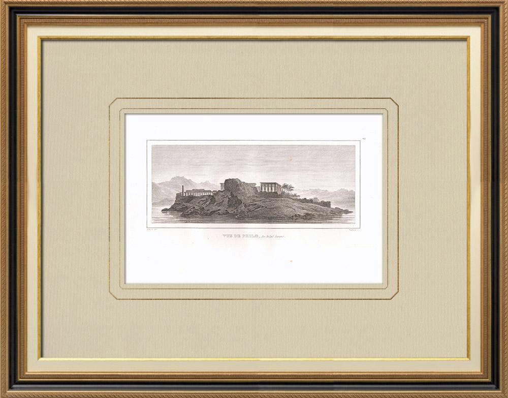 Antique Print & Etching | Ansicht von Philae in der Sonne (Ägypten) | Kupferstich | 1830