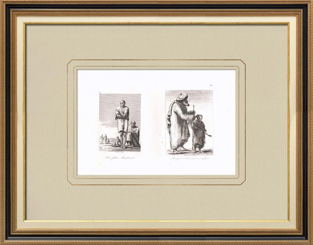 Oude Prenten & Tekeningen | Egyptische Bedelaars - Blinde Oude man (Egypte) | Kopergravure | 1830