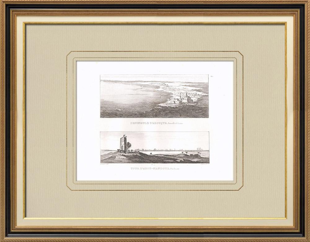 Gravures Anciennes & Dessins | Aboukir - Tour de Abou Mandour près de Rosette (Egypte) | Gravure sur cuivre | 1830