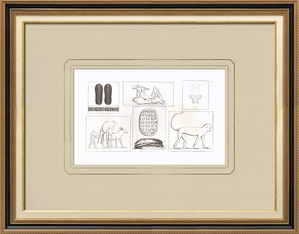 Oude Prenten & Tekeningen | Egyptische Oudheden (Egypte) | Kopergravure | 1830