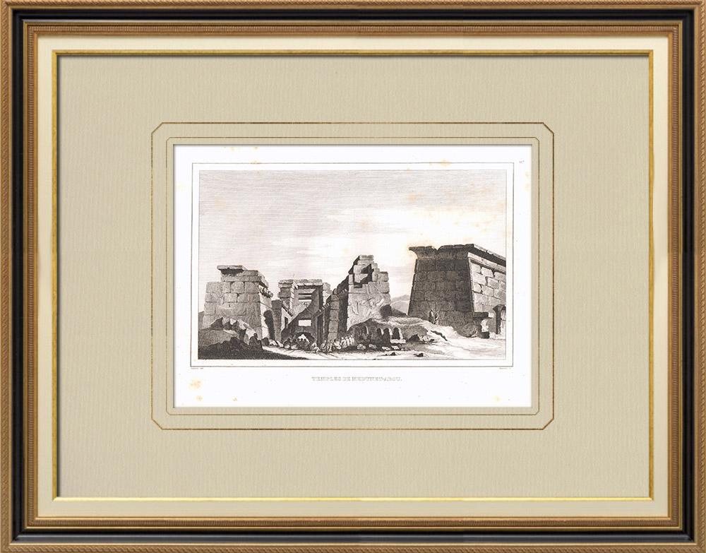Stampe Antiche & Disegni | Tempii di Medynet-Abou - Tebe (Egitto) | Incisione su rame | 1830