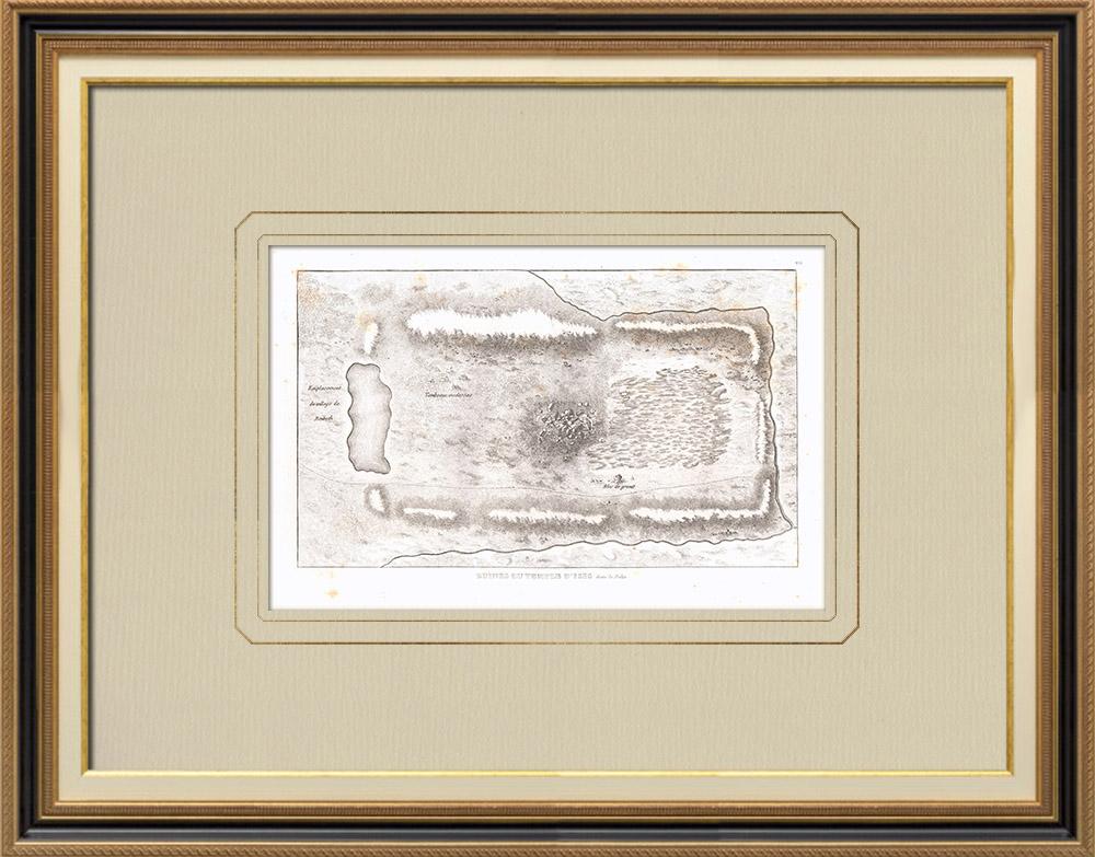 Oude Prenten & Tekeningen | Plan van de Ruïnes van een Tempel van Isis in de Buurt van Beibeth (Egypte) | Kopergravure | 1830