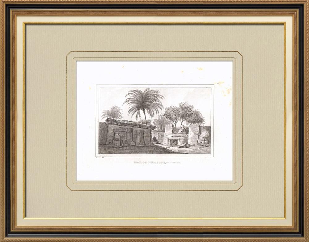 Grabados & Dibujos Antiguos | Casa nubia cerca de cataratas (Egipto) | Grabado calcográfico | 1830