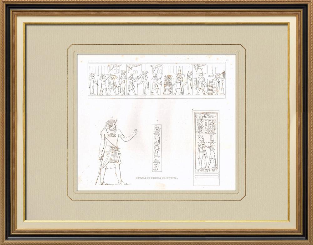 Gravuras Antigas & Desenhos | Templo de Kneph em Elefantina (Egito) | Gravura em buril sobre cobre | 1830