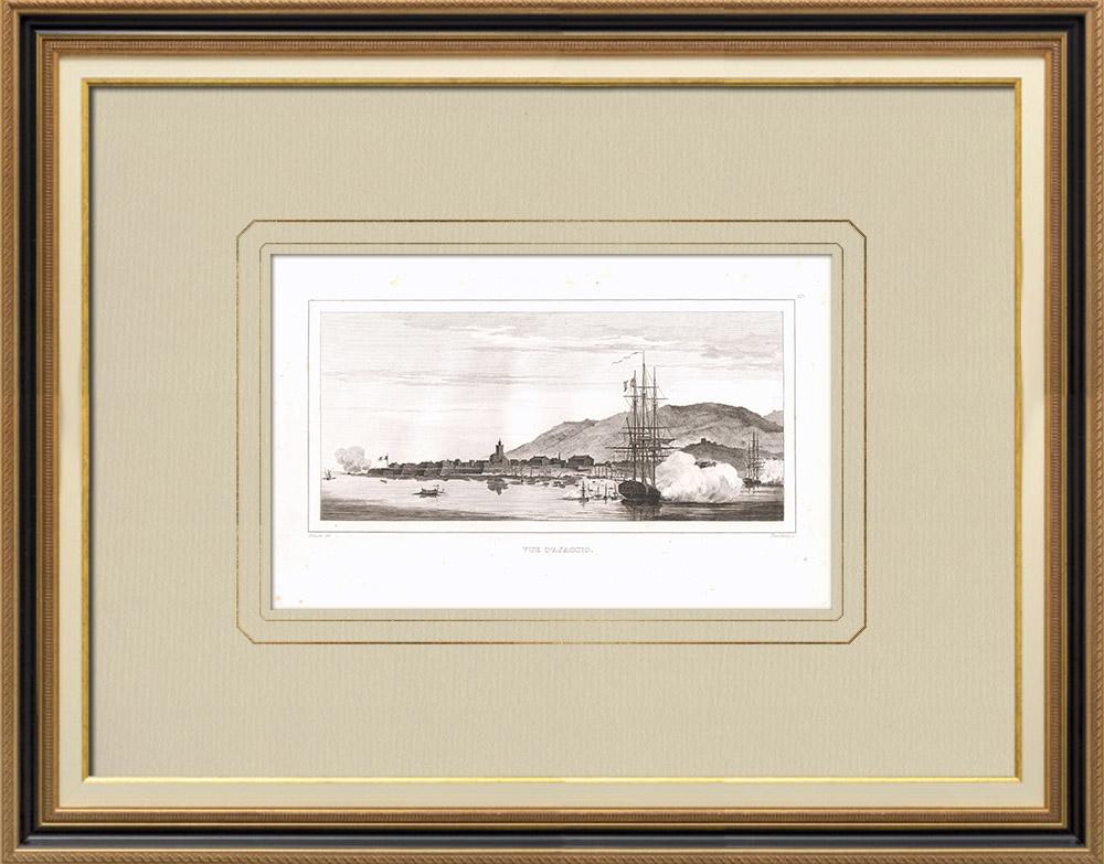 Stampe Antiche & Disegni | Veduta di Ajaccio - Corsica del Sud - Napoleone Buonaparte (Francia) | Incisione su rame | 1830