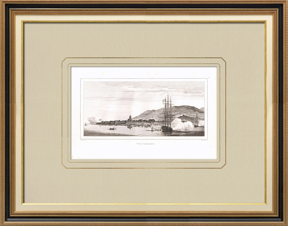 Oude Prenten & Tekeningen | Gezicht op Ajaccio - Corse-du-sud - Napoléon Bonaparte (Frankrijk) | Kopergravure | 1830