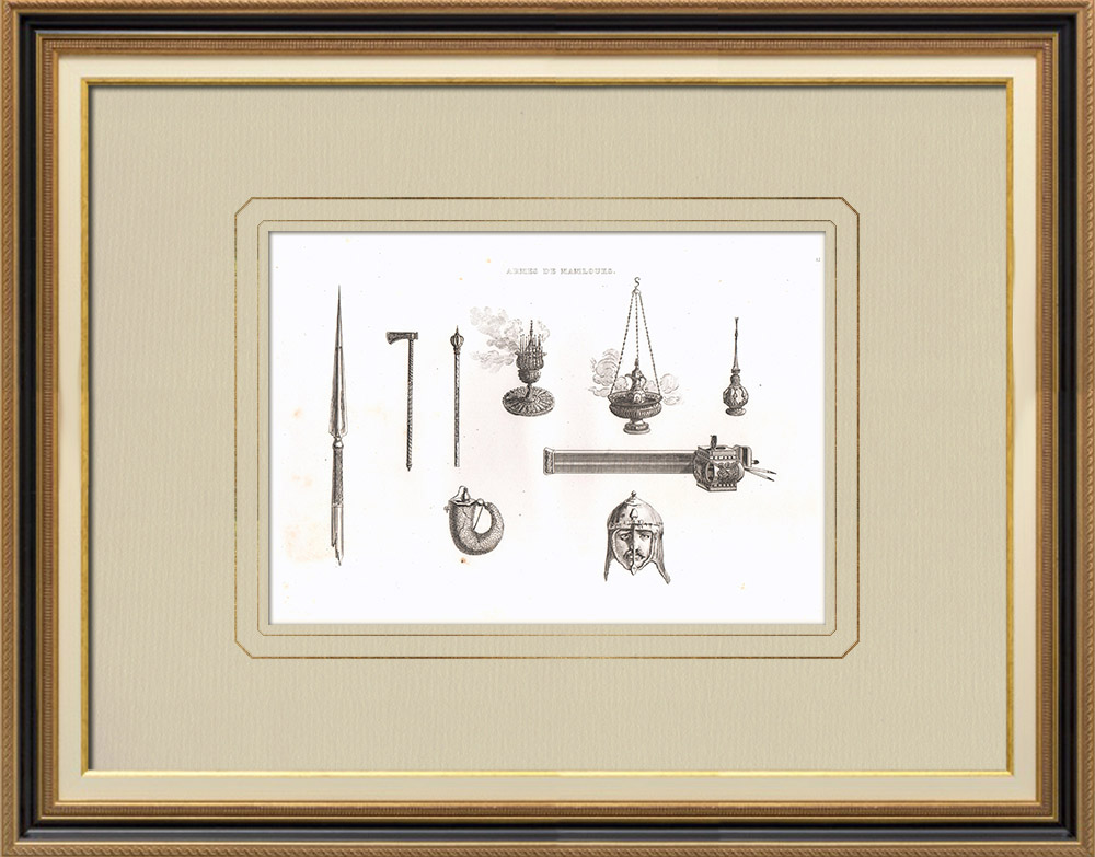 Antique Prints & Drawings | Mameluk weapons and utensils (Egypt) | Copper engraving | 1830