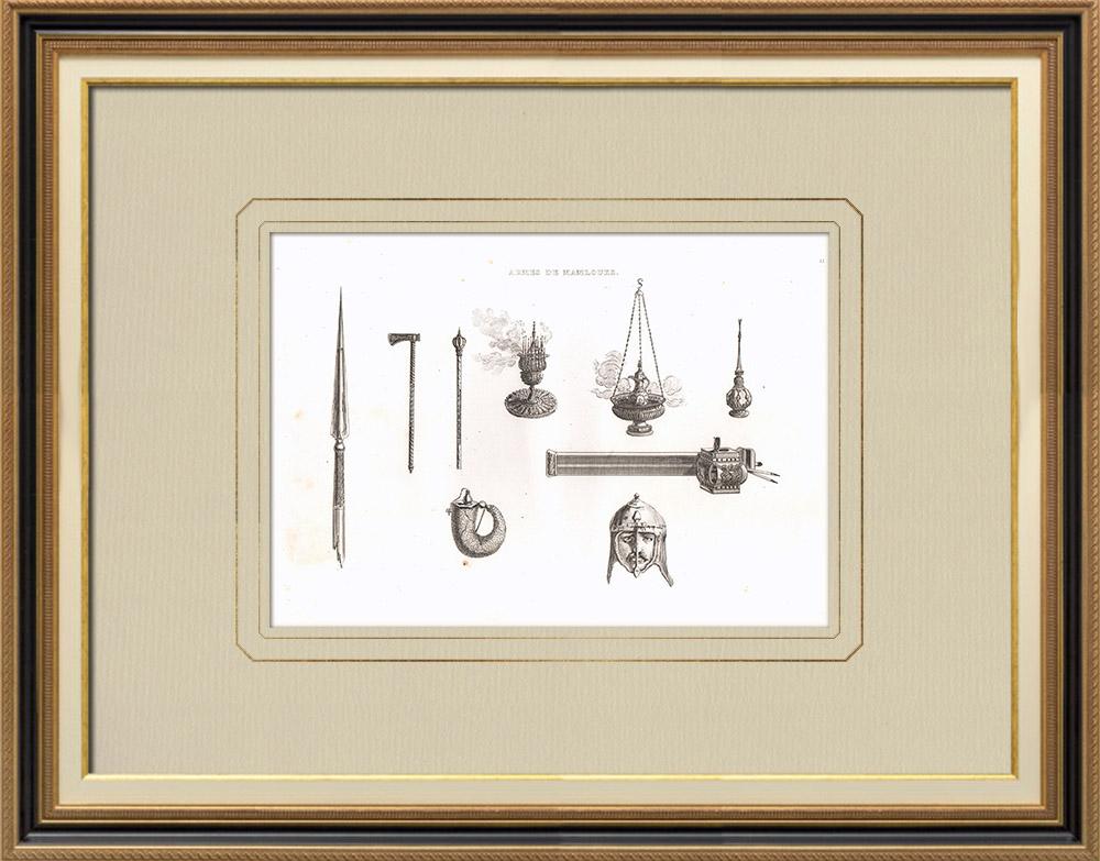 Oude Prenten & Tekeningen | Mameluk Wapens en Gebruiksvoorwerpen (Egypte) | Kopergravure | 1830