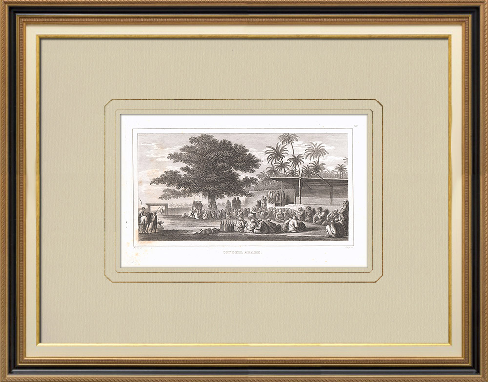 Grabados & Dibujos Antiguos | Encuentro de los Jeques en Abou-Manah (Egipto) | Grabado calcográfico | 1830