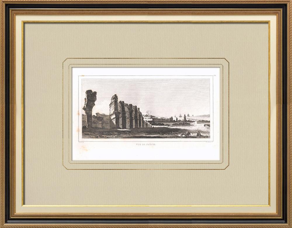 Antique Prints & Drawings | View of Fréjus - Roman Amphitheater - Unloading of Bonaparte (France) | Copper engraving | 1830