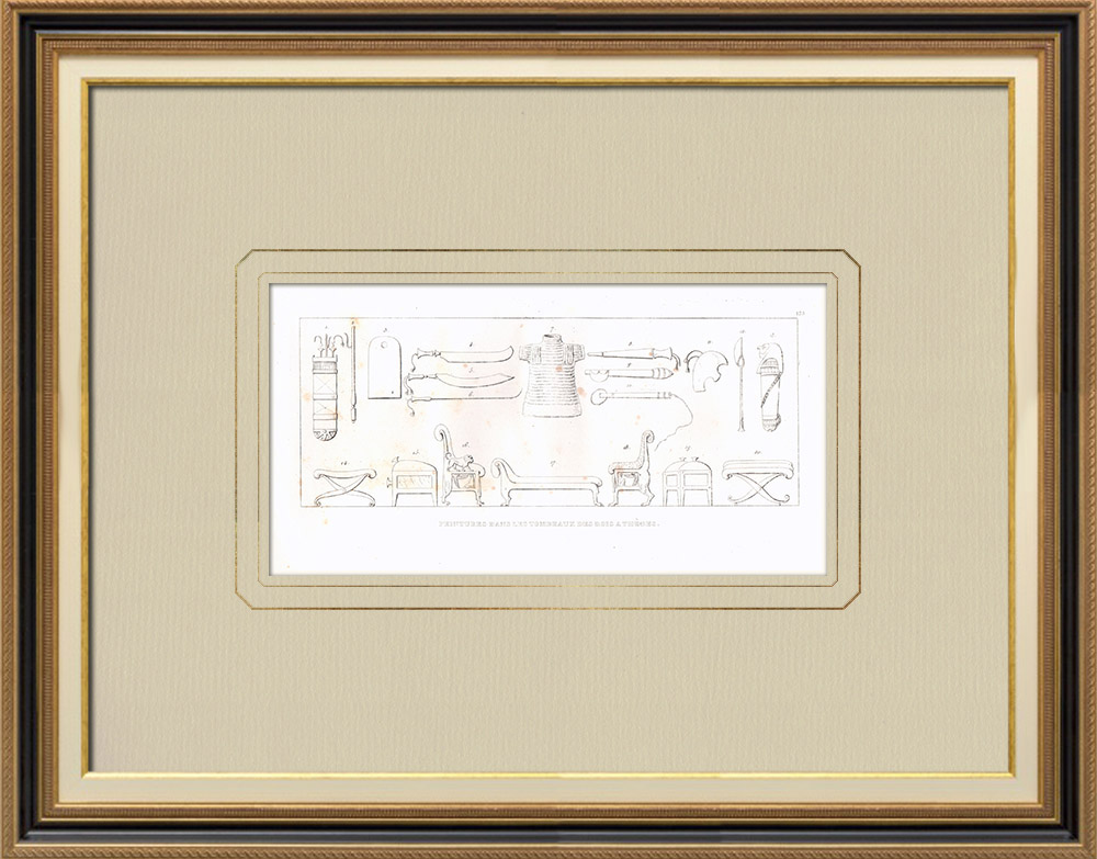 Antique Prints & Drawings | Paintings in the tombs of the kings at Thebes (Egypt) | Copper engraving | 1830
