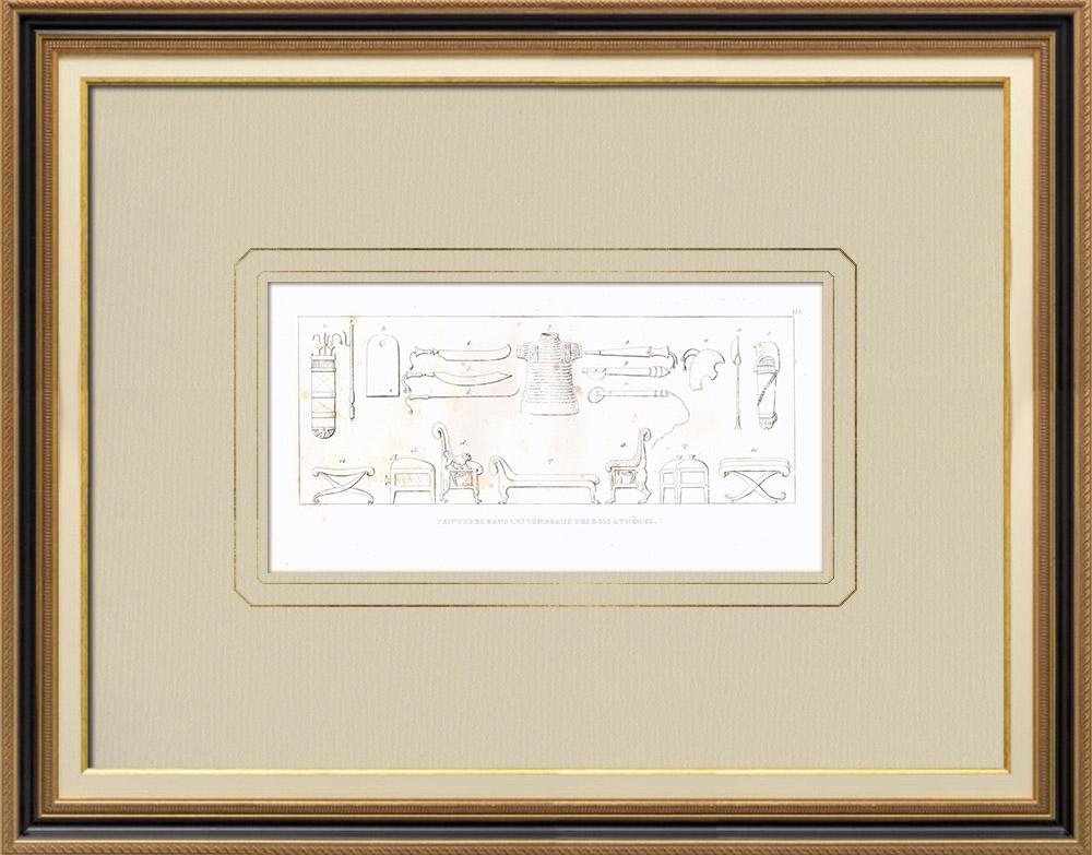 Grabados & Dibujos Antiguos | Pinturas en las tumbas de los reyes en Tebas (Egipto) | Grabado calcográfico | 1830