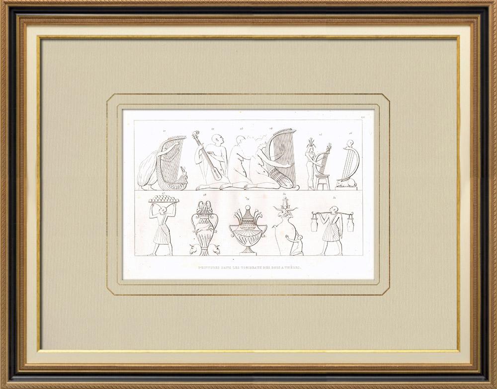 Antique Print & Etching   Gemälde in den Gräbern der Könige von Theben (Ägypten)   Kupferstich   1830