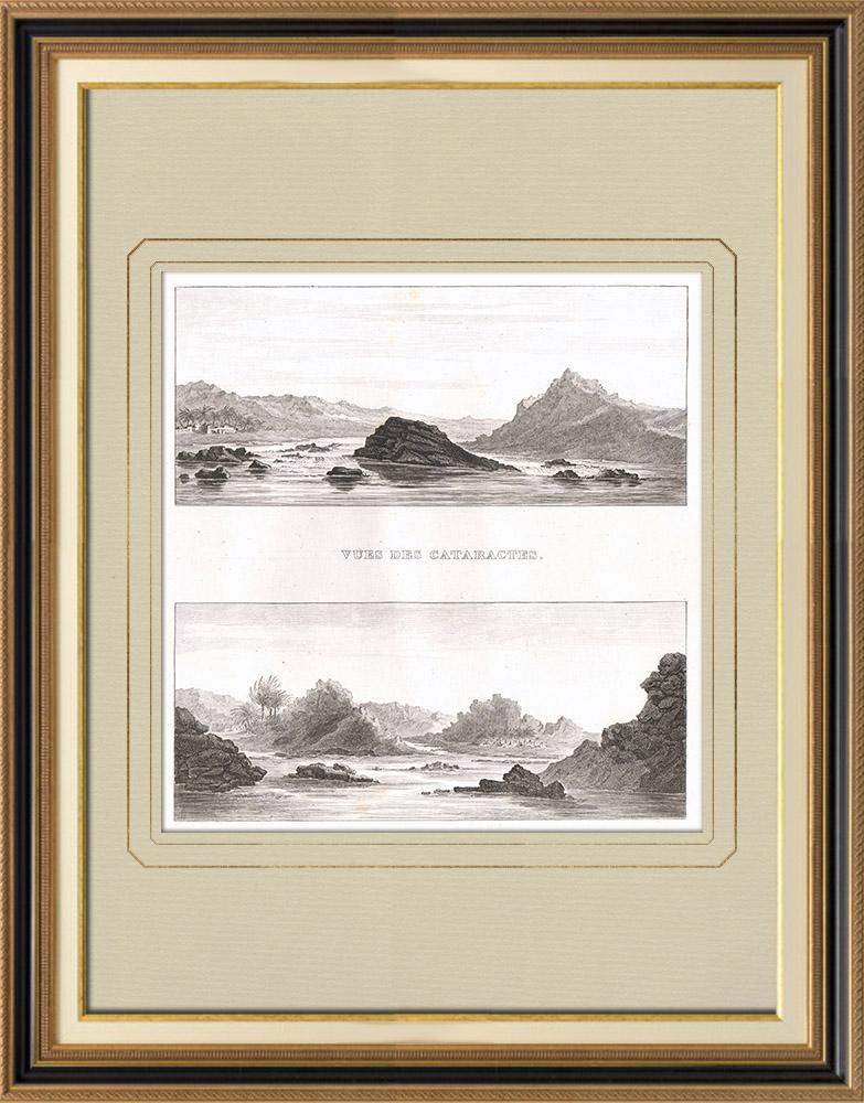 Antika Tryck & Ritningar | Vy över Nilen Katarakter - Vattenfall (Egypten) | Kopparstick | 1830