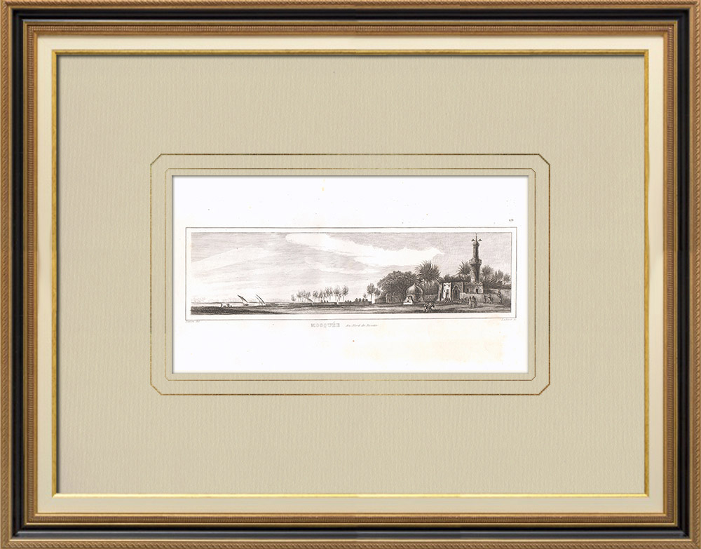 Antique Prints & Drawings | A mosque at north of Rosetta (Egypt) | Copper engraving | 1830
