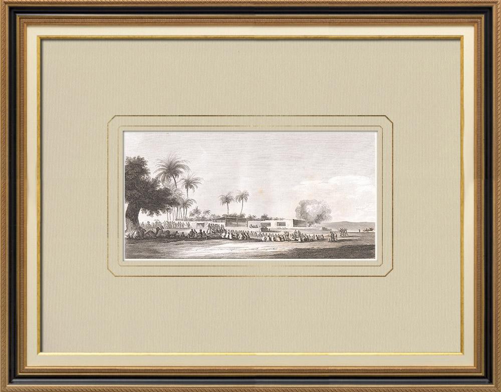 Grabados & Dibujos Antiguos | Comida después del encuentro de los Jeques en Abou-Manah (Egipto) | Grabado calcográfico | 1830