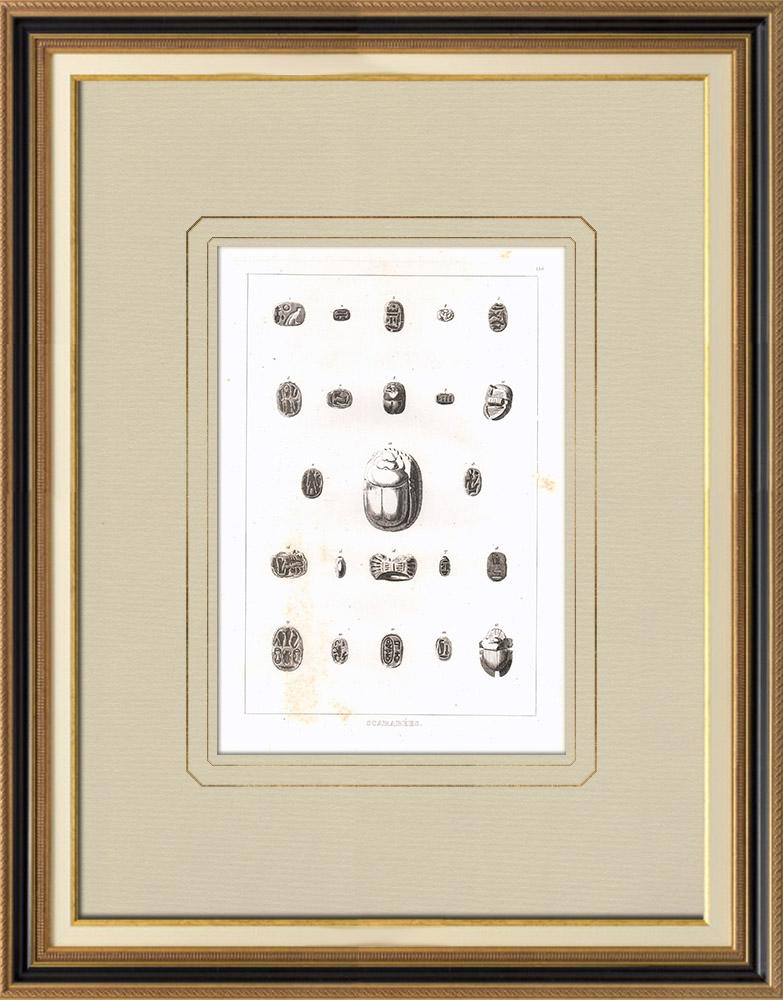 Antika Tryck & Ritningar | Bladhorningar, helig djur i det forna Egypten (Egypten) | Kopparstick | 1830