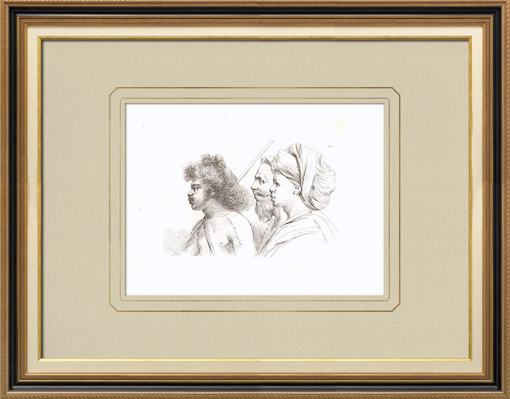 Antika Tryck & Ritningar | Arabporträtter - Prins Ababdéh (Egypten) | Kopparstick | 1830