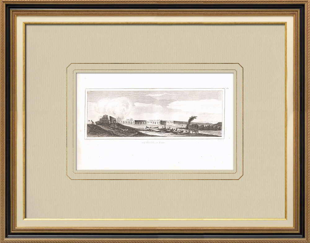 Antique Prints & Drawings | Aqueduct - Nile - Cairo (Egypt) | Copper engraving | 1830