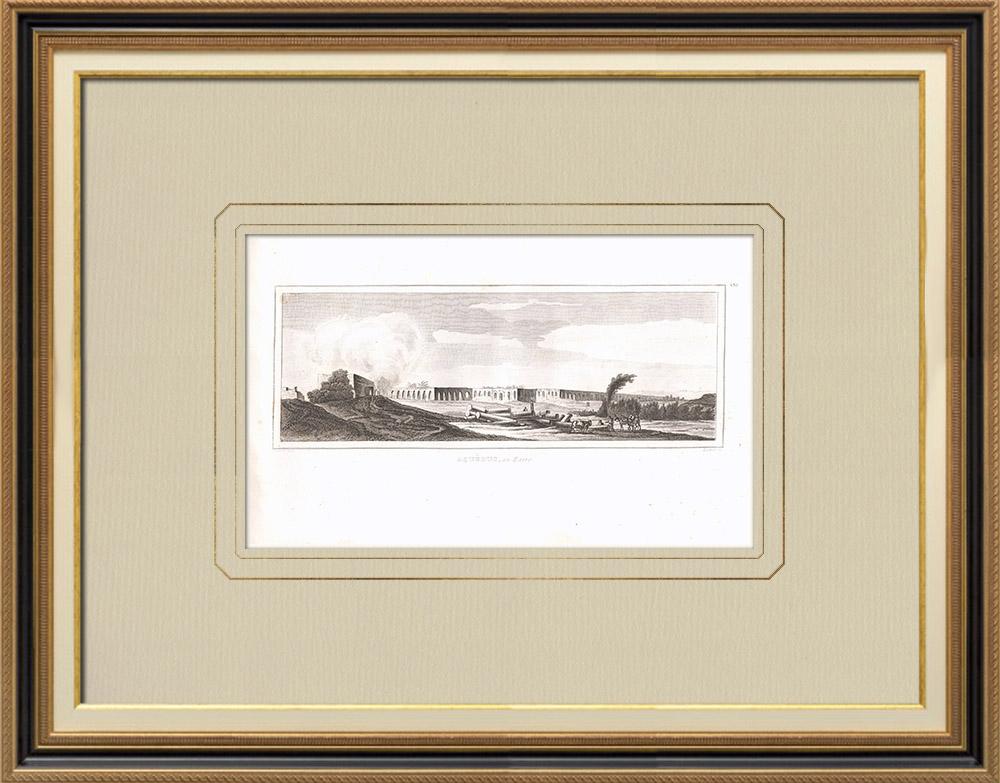 Stare Grafiki & Rysunki | Akwedukt - Nil - Kair (Egipt) | Miedzioryt | 1830