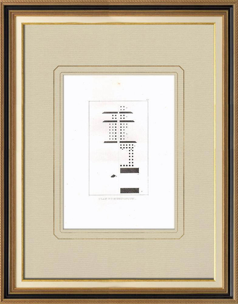 Gravuras Antigas & Desenhos | Plano do Memnonium de Tebas (Egito)  | Gravura em buril sobre cobre | 1830