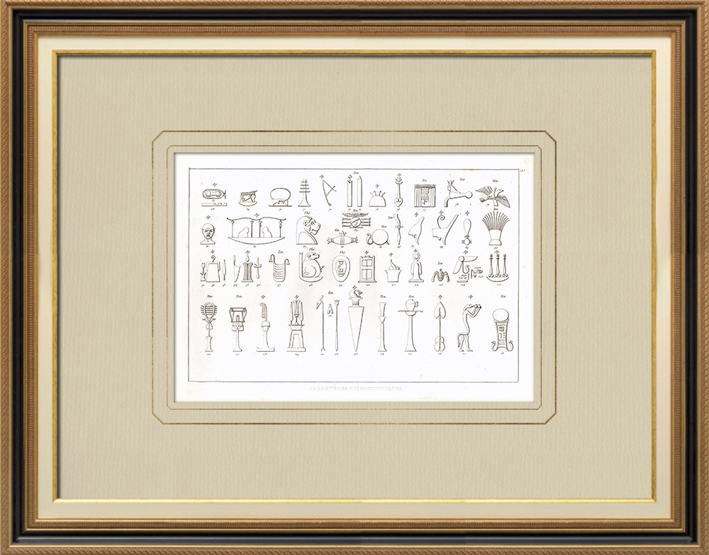 Antique Prints & Drawings | Hieroglyphs (Egypt) | Copper engraving | 1830