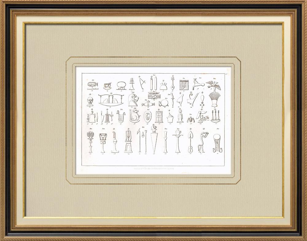 Stampe Antiche & Disegni | Geroglifici (Egitto) | Incisione su rame | 1830