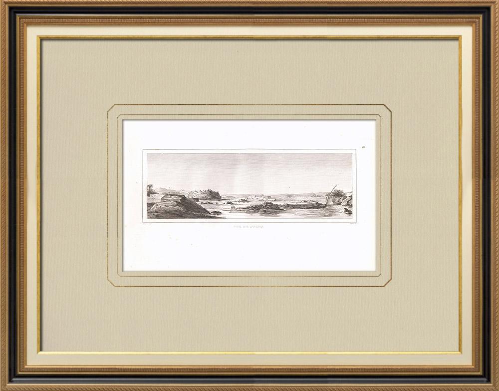 Gravuras Antigas & Desenhos | Vista de Assuão - Syene (Egito) | Gravura em buril sobre cobre | 1830