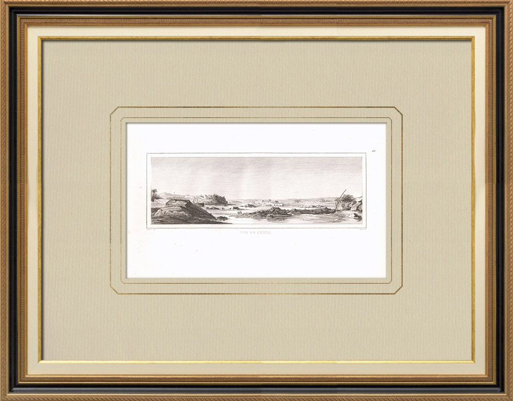 Stare Grafiki & Rysunki | Widok Asuan - Syene (Egipt) | Miedzioryt | 1830
