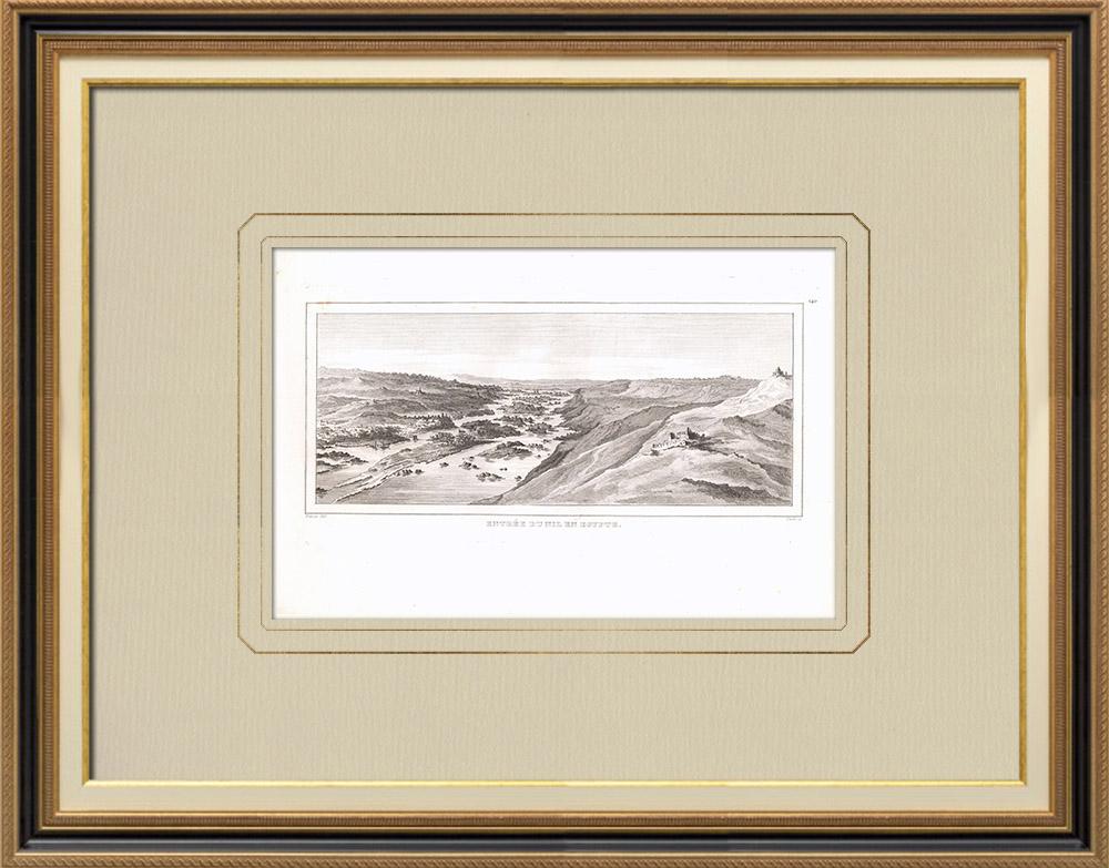 Antika Tryck & Ritningar   Nilen kommer in i Egypten   Kopparstick   1830